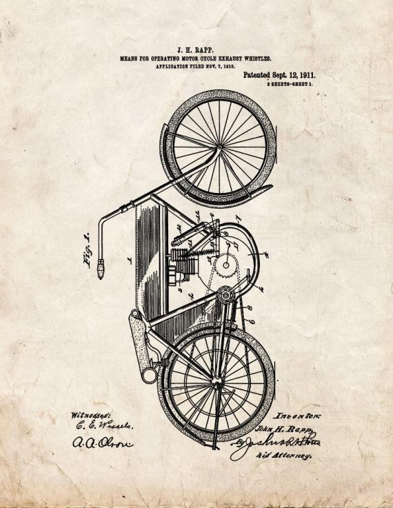 Means for Operating Motorcycle Exhaust-whistles Patent Print