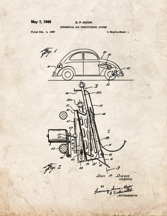 Automobile Air Conditioning System Patent Print