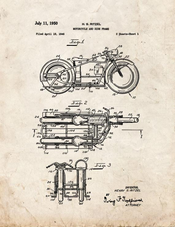 Motorcycle and Side Frame Patent Print