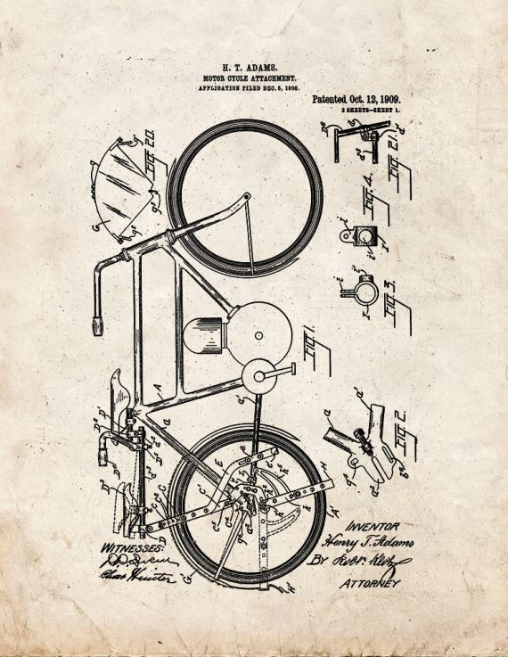 Motorcycle Attachment Patent Print