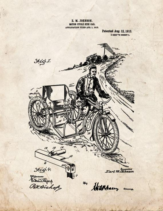 Motorcycle Side Car Patent Print