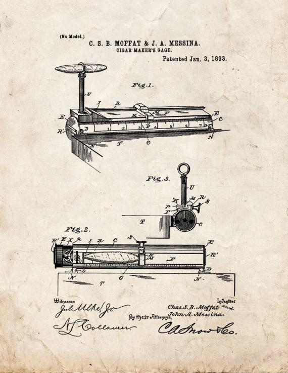 Cigar Maker's Gage Patent Print