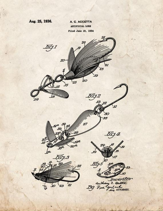 Artificial Lure Patent Print