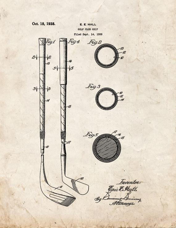 Golf Club Grip Patent Print