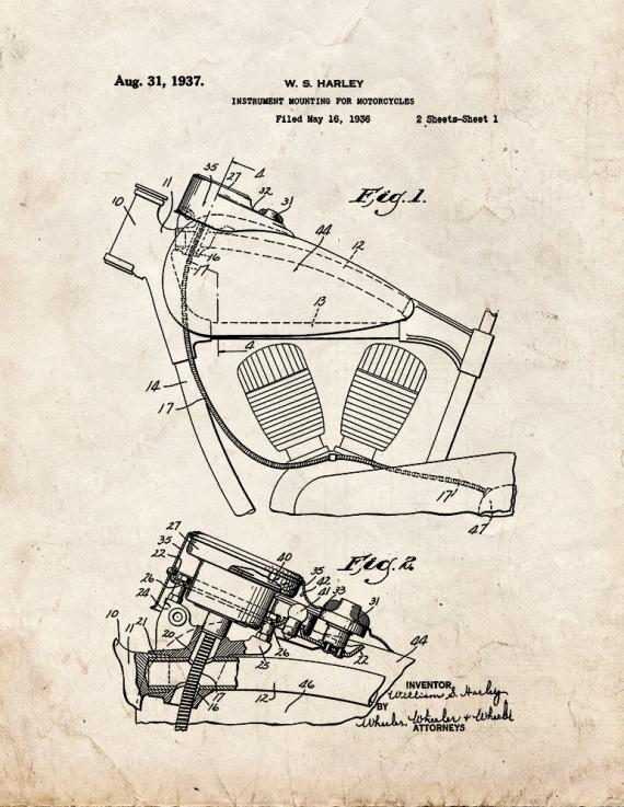Instrument Mounting for Motorcycles Patent Print