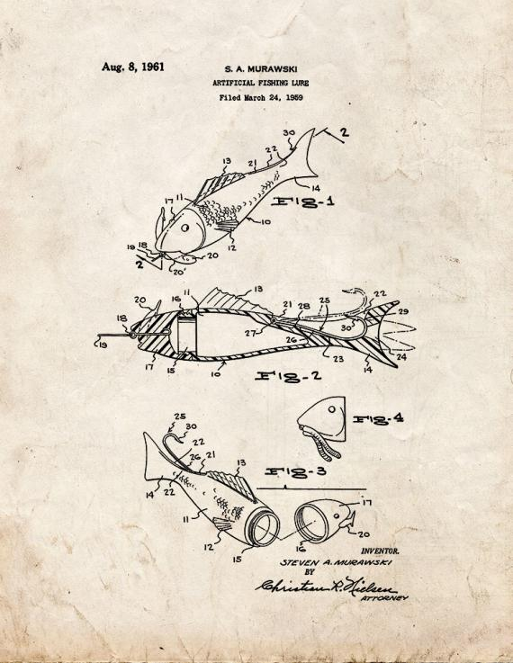 Artificial Fishing Lure Patent Print