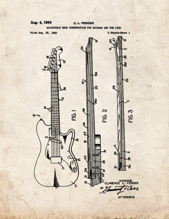 Adjustable Neck Construction for Guitars Patent Print