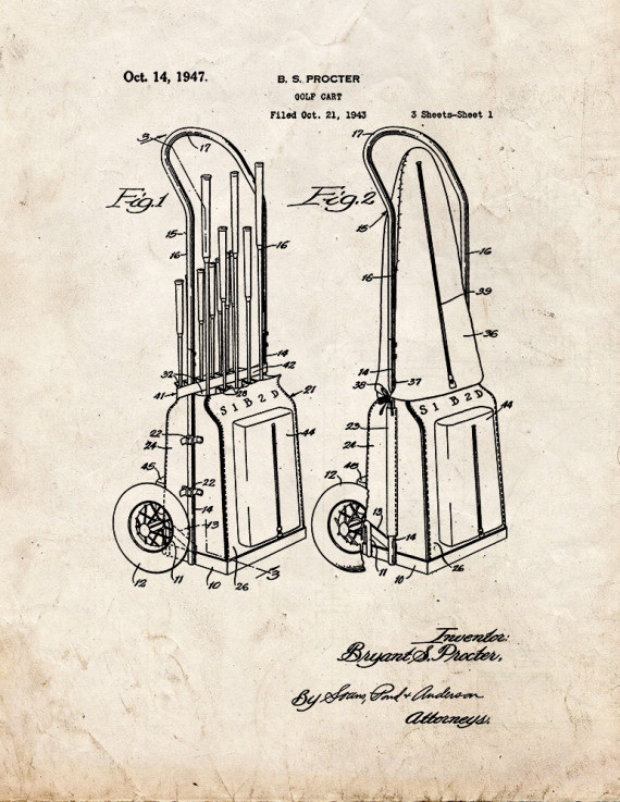 Golf Cart Patent Print