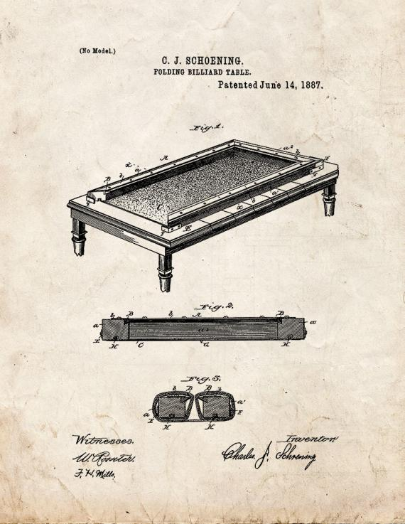Folding Billiard Table Patent Print