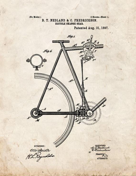Bicycle Change Gear Patent Print