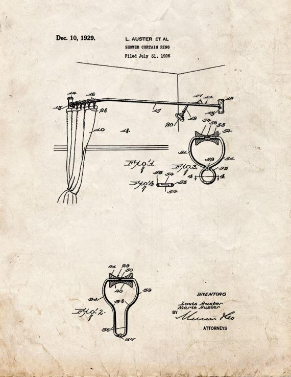 Shower Curtain Ring Patent Print