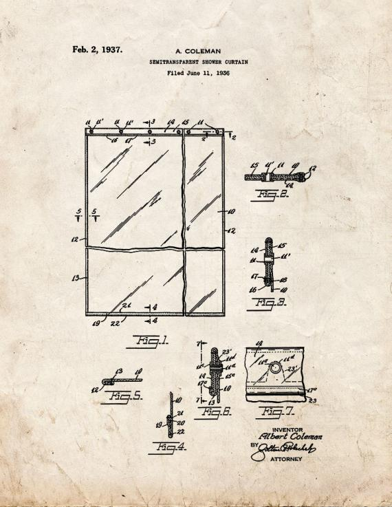 Semi-transparent Shower Curtain Patent Print