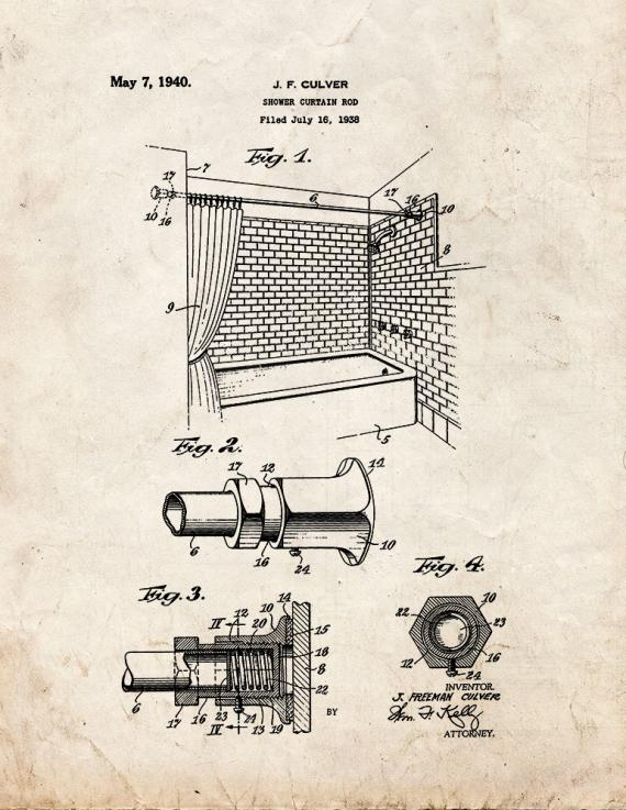 Shower Curtain Rod Patent Print