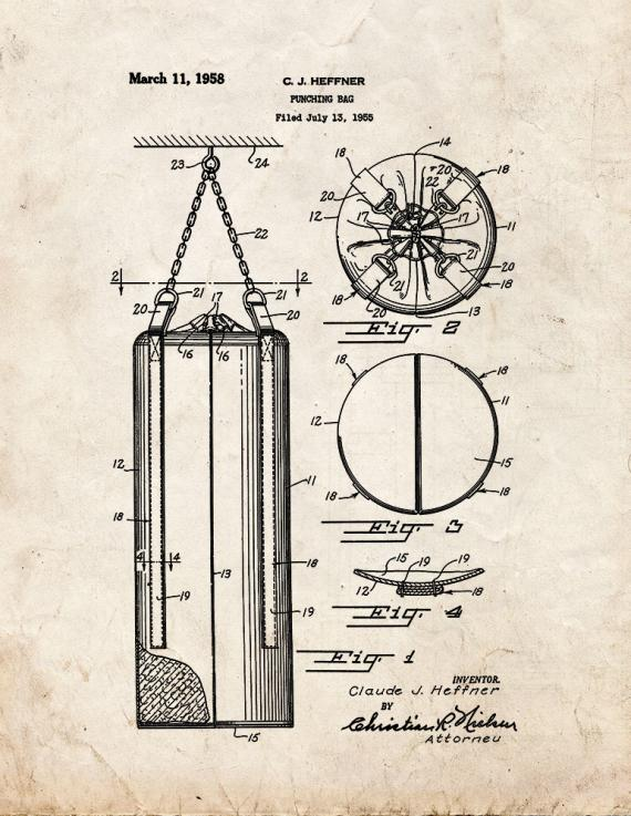 Punching Bag Patent Print