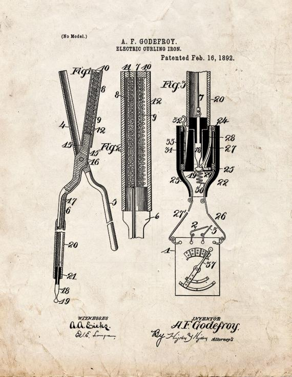 Electric Curling Iron Patent Print