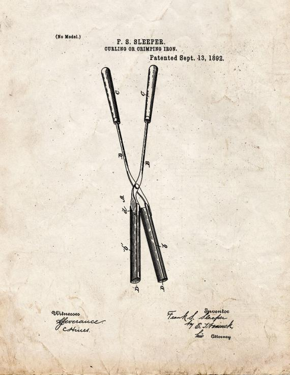 Curling Or Crimping Iron Patent Print
