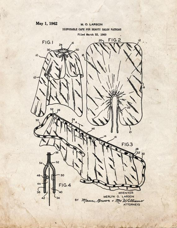 Disposable Cape for Beauty Salon Patrons Patent Print