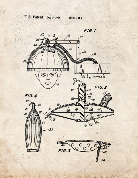 Collapsible Hair Dryer Device Patent Print