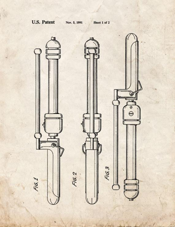 Curling Iron Patent Print