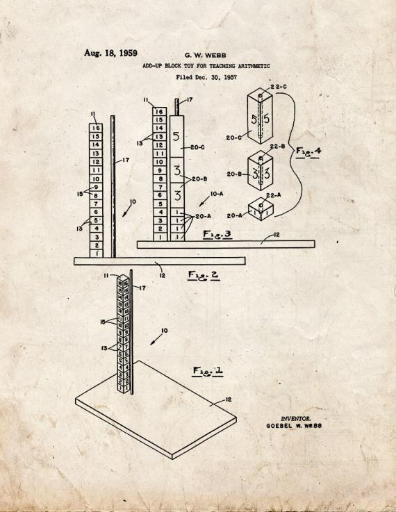 Add-Up Block Toy For Teaching Arithmetic Patent Print