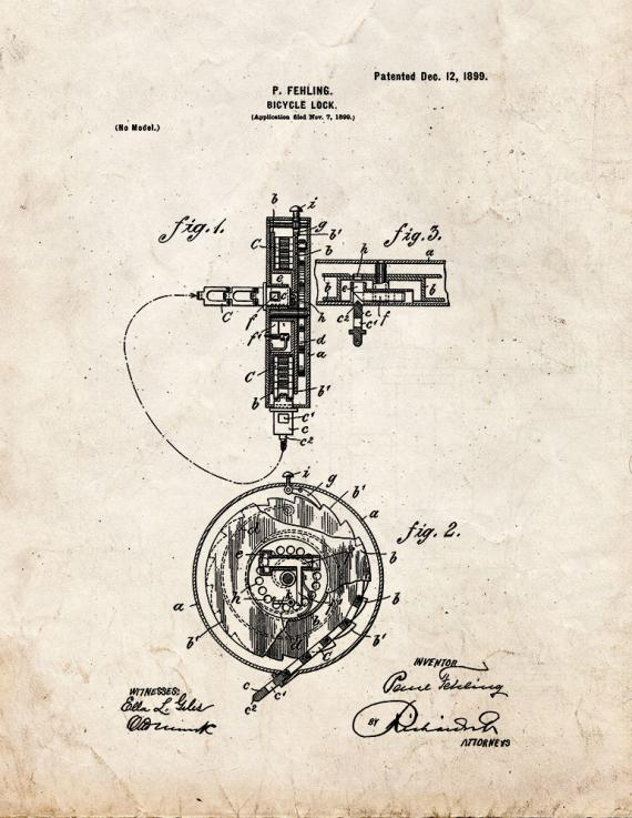 Bicycle Lock Patent Print