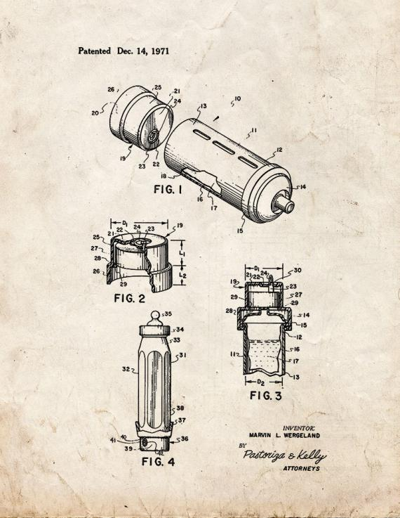 Baby Bottle and Music Box Unit Patent Print