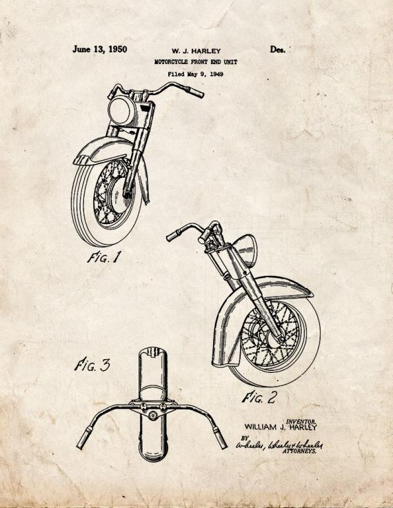 Harley Motorcycle Front End Unit Patent Print