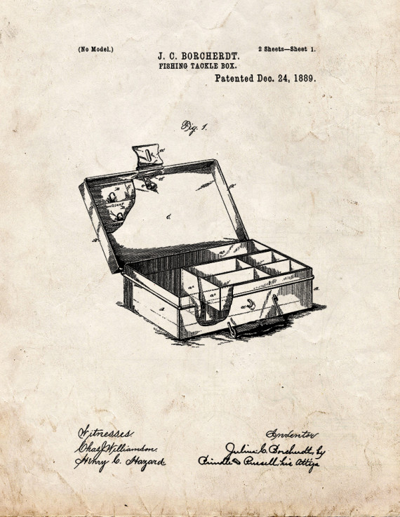 Fishing Tackle Box Patent Print