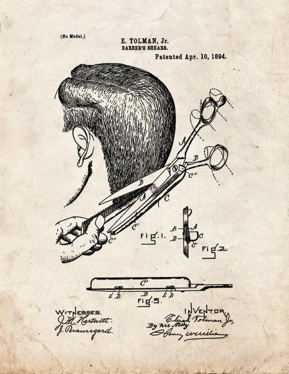 Barber's Shears Patent Print