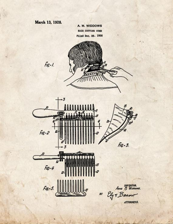 Hair-cutting Comb Patent Print