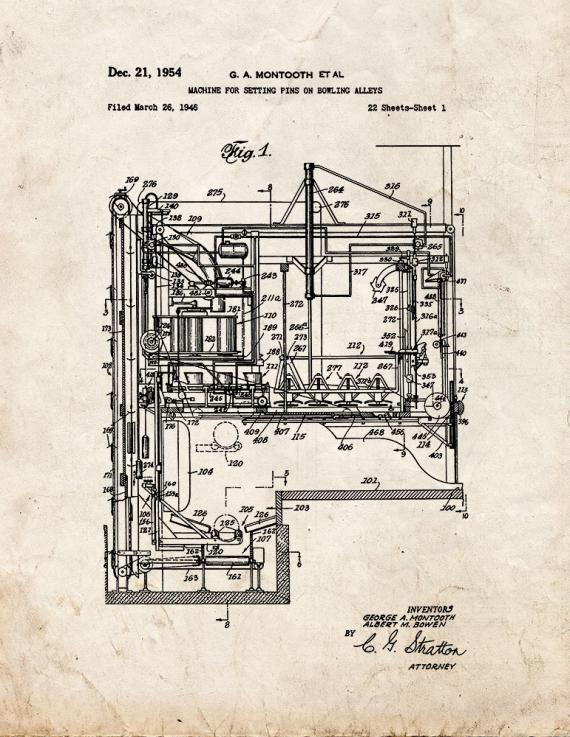 Machine for Setting Pins On Bowling Alleys Patent Print