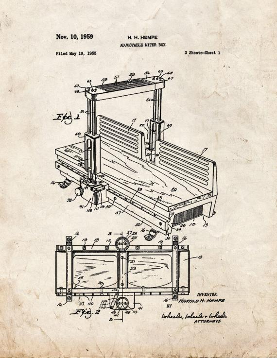 Adjustable Miter Box Patent Print