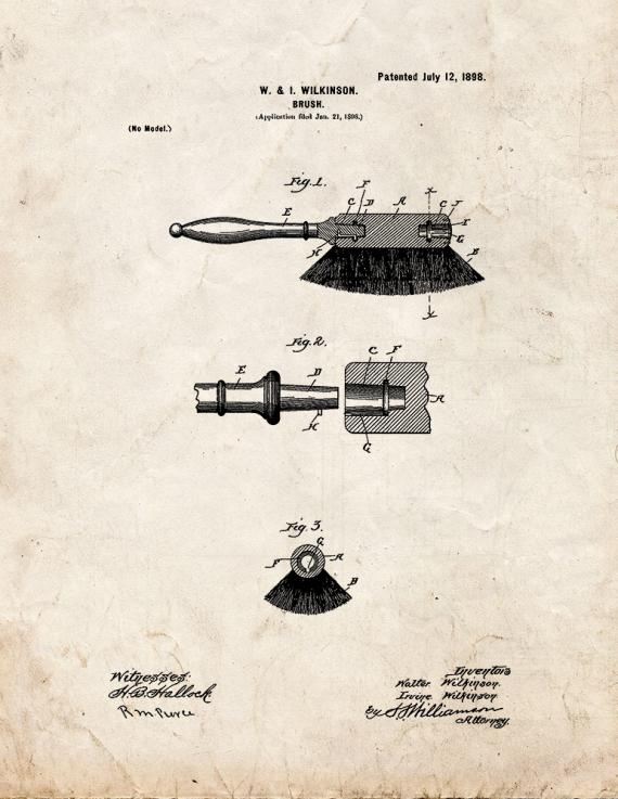 Brush Patent Print