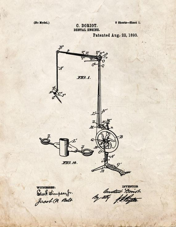 Dental Engine Patent Print