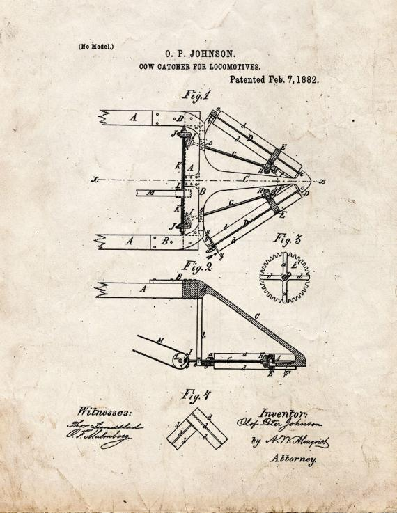 Cow Catcher For Locomotives Patent Print