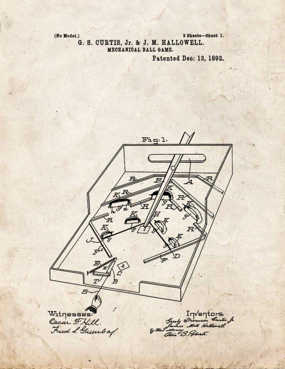 Mechanical Ball Game Patent Print