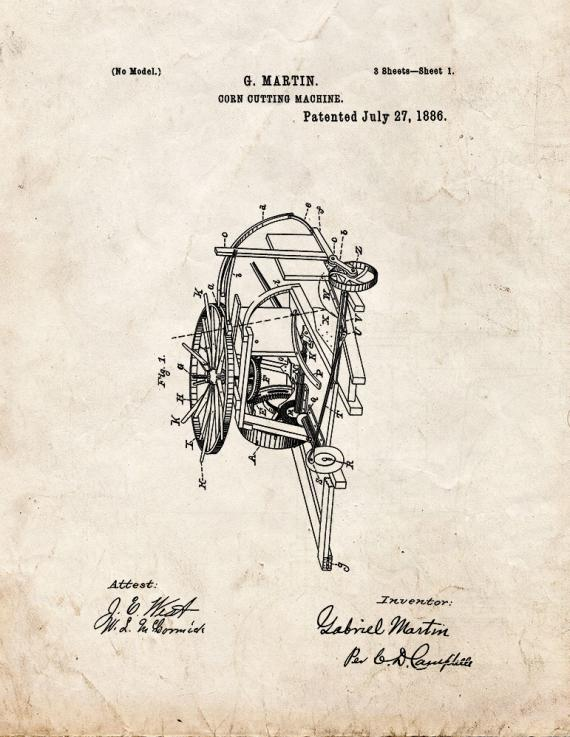 Corn Cutting Machine Patent Print