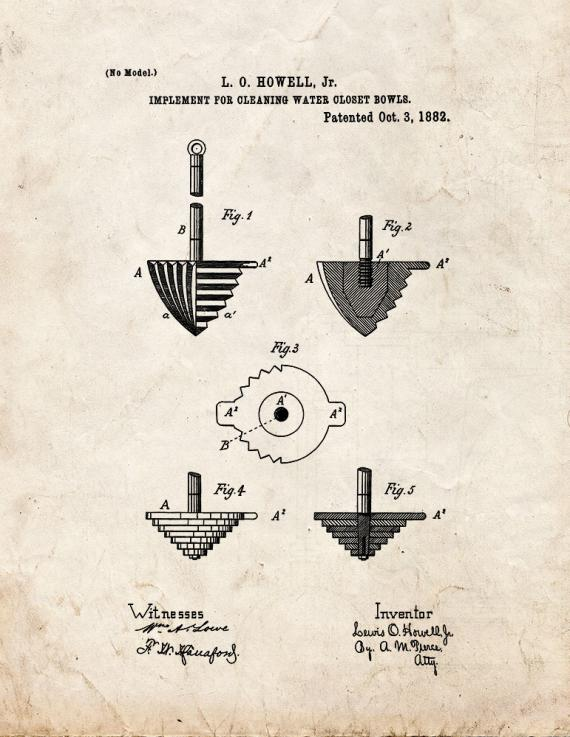 Implement For Cleaning Water Closet Bowls Patent Print