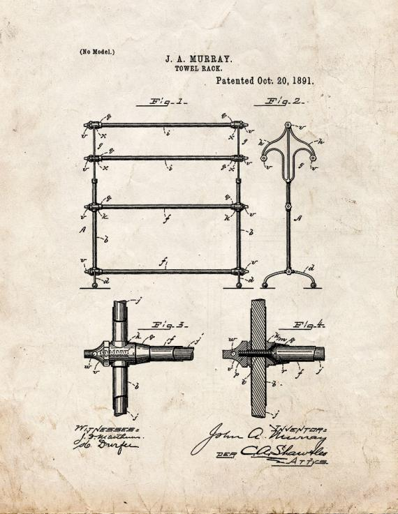 Bathroom Towel Rack Patent Print