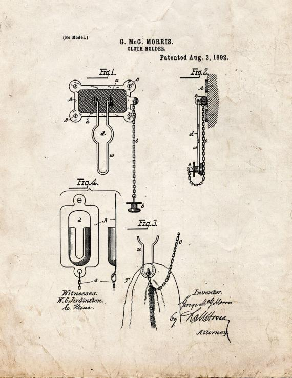Cloth Holder Patent Print
