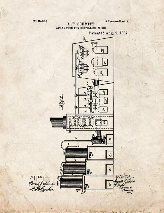 Apparatus For Distilling Wood Patent Print