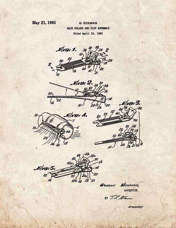 Hair Roller and Clip Assembly Patent Print