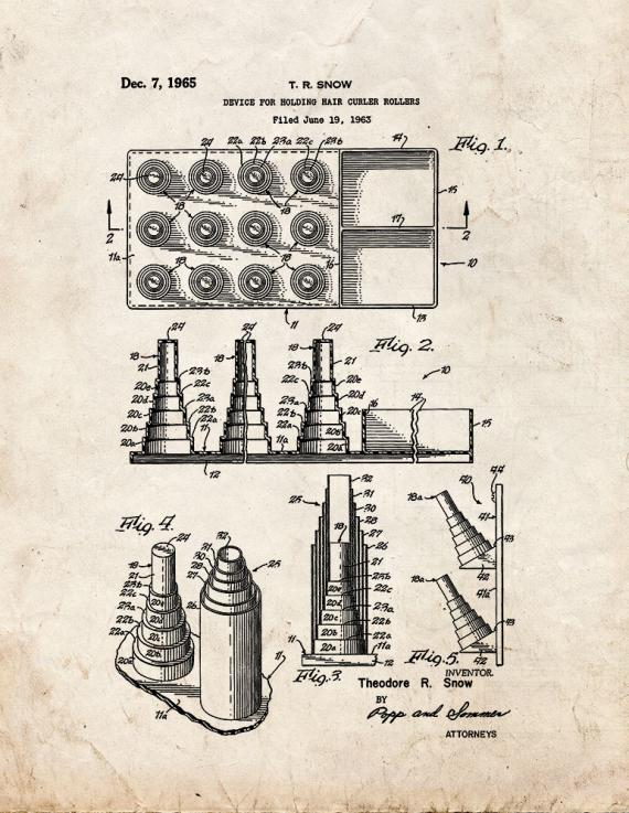 Device for Holding Hair Curler Rollers Patent Print