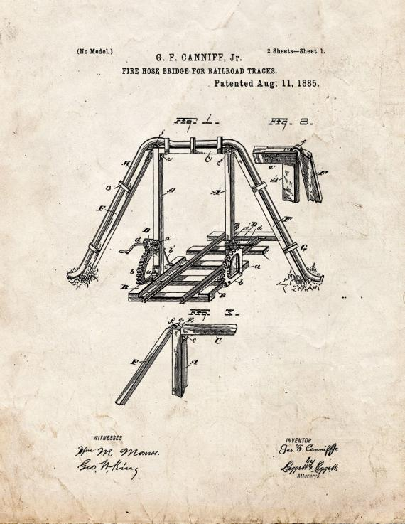 Fire Hose Bridge For Railroad Tracks Patent Print