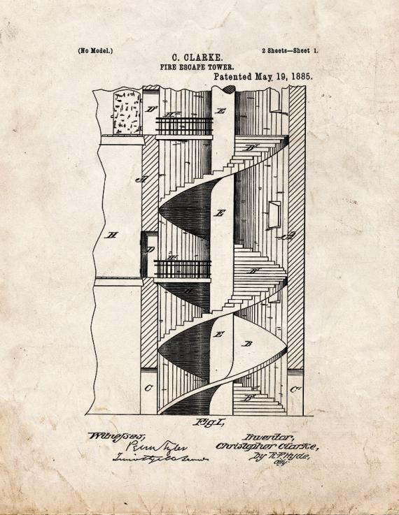 Fire Escape Tower Patent Print