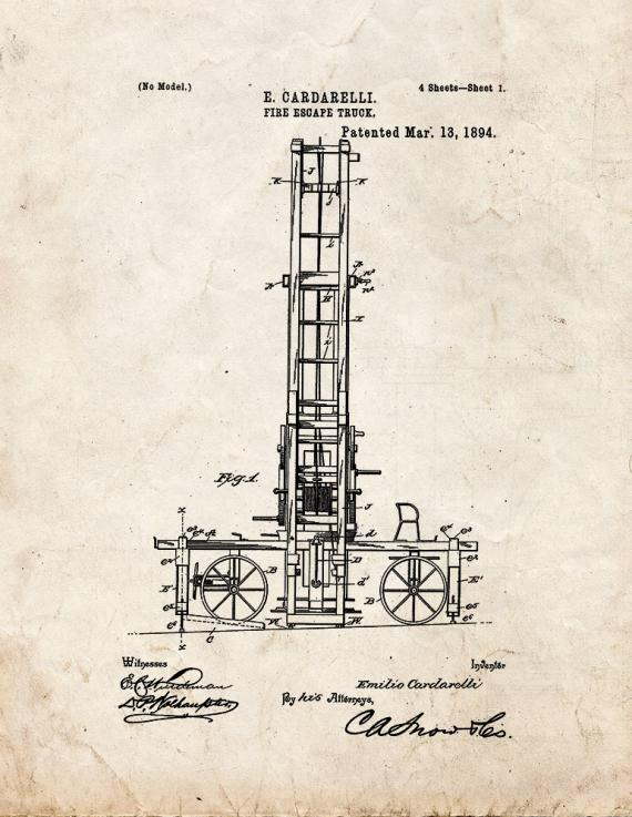 Fire Escape Truck Patent Print