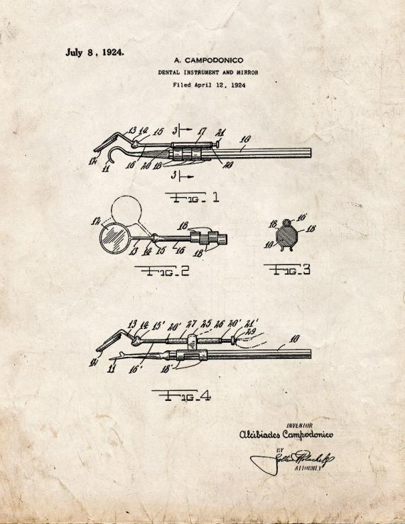 Dental Instrument and Mirror Patent Print