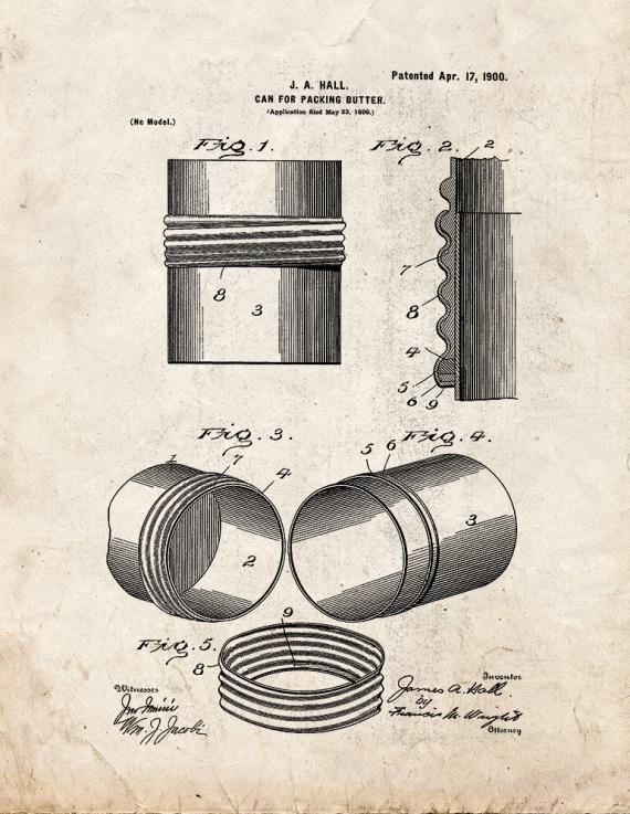 Can for Packing Butter Patent Print