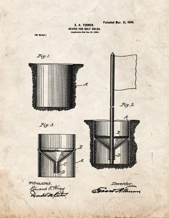 Device For Golf Holes Patent Print