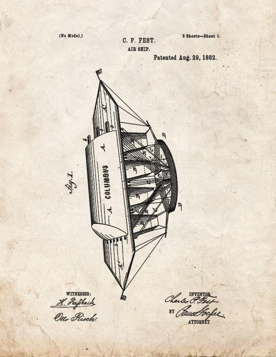 Air Ship Patent Print
